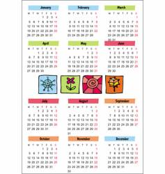 2009 seasonal calendar vector