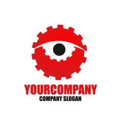Cog eye logo template vector