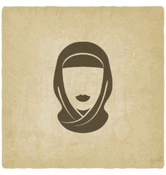 Arabic woman avatar old background vector