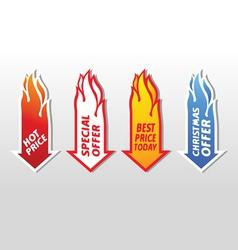 Special offer flaming arrow symbols concept vector