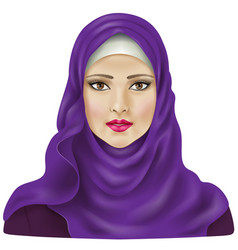 Girl in violet hijab vector