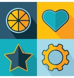 Orange heart star gear icons vector