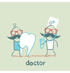Physician and the patient with a sore tooth vector