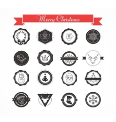 Set of labels designs and elements for christmas vector