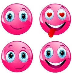 Pink smiley ball vector