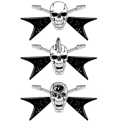 Skull with guitars vector