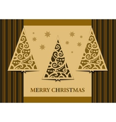 Postcard three christmas trees retro vector