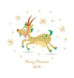 Merry christmas greeting card with a goat vector