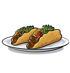 Tacos on plate vector