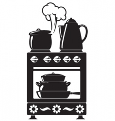 Kitchenware on the stove vector
