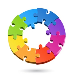 Jigsaw puzzle wheel vector