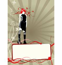 Floral frame with girl vector
