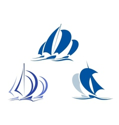 Yachts and sailboats vector