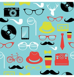 Colorful retro hipsters icons seamless pattern vector