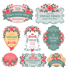 Floral label vector