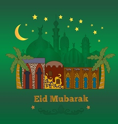 Eid mubarak card green vector
