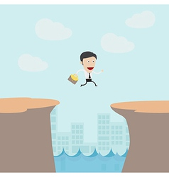 Businessman jumping from moutain vector