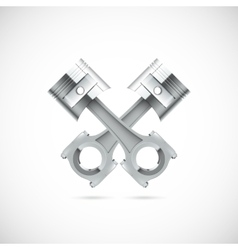 Two pistons white background vector