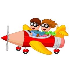 Boy and girl on a pencil airplane vector
