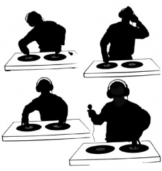 Dj silhouettes vector