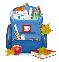 School bag with education objects vector