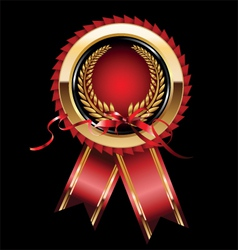 Red label with ribbon vector