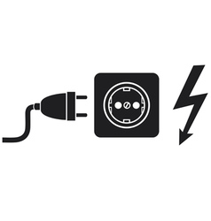 Power plug power outlet and lightning symbol vector