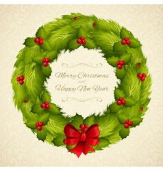 Christmas wreath postcard vector
