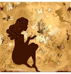 Grunge girl with butterflies vector