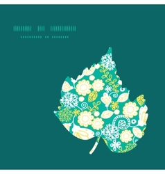 Emerald flowerals leaf silhouette pattern vector