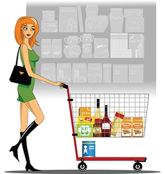 Woman in a supermarket vector