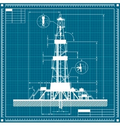 Blueprint of oil rig silhouette vector