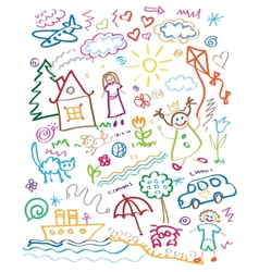 Multicolored child drawing style set vector