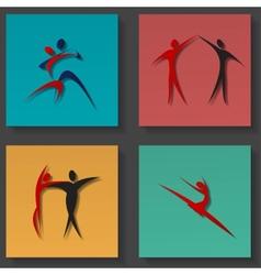 Dance icons set vector