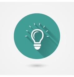 Round shining light bulb icon vector