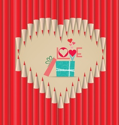 Valentines day with gift in heart shape out of vector