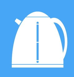 Icon electric kettle on blue background vector