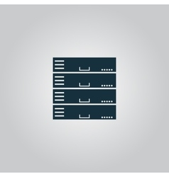 Computer server icon flat design vector