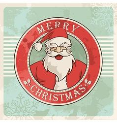 Merry christmas santa vintage postcard vector