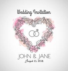 Heart wedding invitation vector
