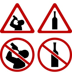 Warning signs of alcohol vector