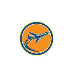 Commercial jet plane airline flying retro vector