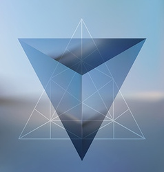 Abstract isometric pyramid with the reflection of vector