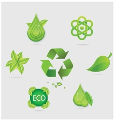 Eco symbols and emblems set green color vector