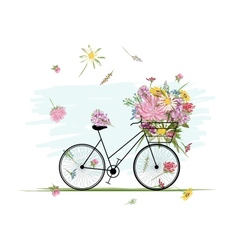 Female bicycle with floral basket for your design vector