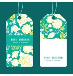 Emerald flowerals vertical stripe frame vector