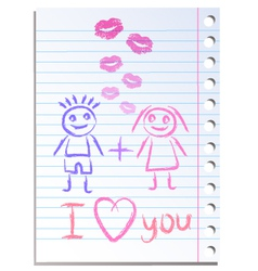 Notebook paper sheet with lips imprint vector