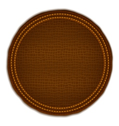 Brown leather label vector