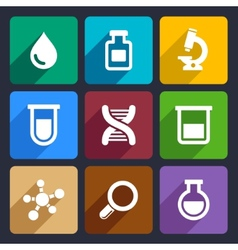 Chemical flat icons set 49 vector