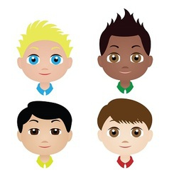 Children boys faces vector